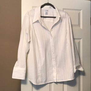 5th ave Chrisp white blouse with silver threading